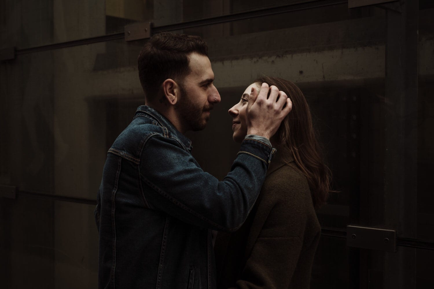 Dan + Sam intimate, moody downtown Chicago engagement photography